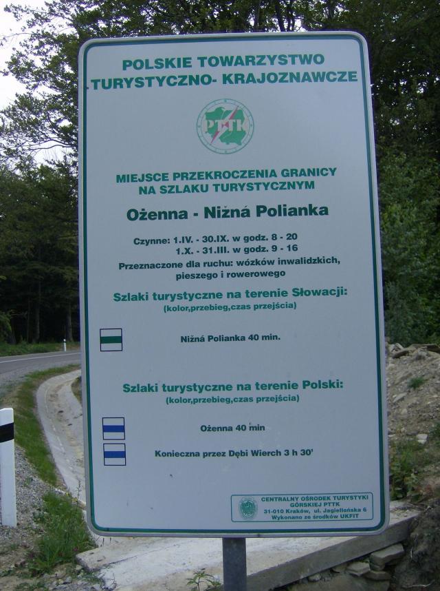 02 Hraničný priechod s PL: Nižná Polianka - Ožena